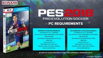 Официальные системные требования PC версии PES 2018
